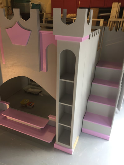 Grey Pink Princess Castle Loft Playhouse Bed Holiday S