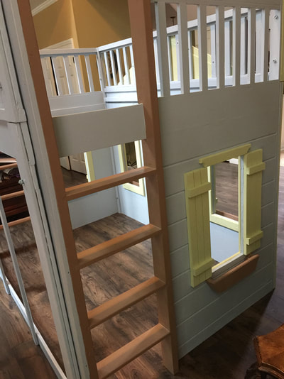 Cottage Loft Playhouse Bed With 2 Ladders Blue Green Brown